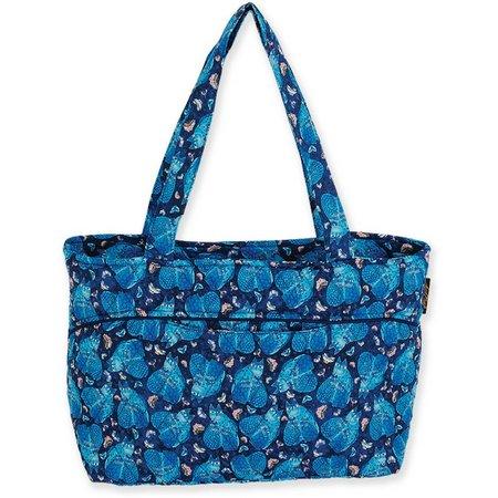 Laurel Burch Quilted Indigo Cat Tote Handbag