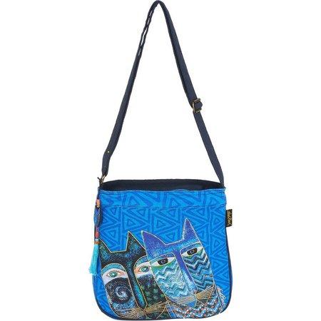 Laurel Burch Blue Cats Crossbody Handbag