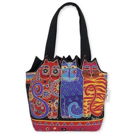 Laurel Burch Indigo Cats Medium Tote Handbag