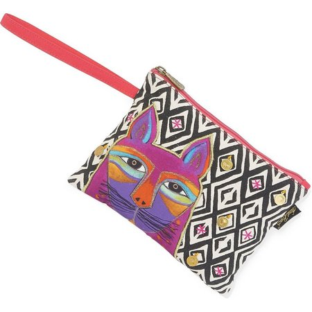 Laurel Burch Whiskered Cat Diamond Print Wristlet