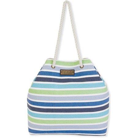 Caribbean Joe Blue Stripes Beach Bag Tote