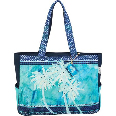Paul Brent Palm Trees Blue Beach Bag Tote