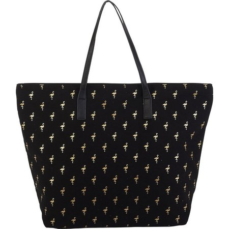Caribbean Joe Black Flamingo Beach Bag Tote