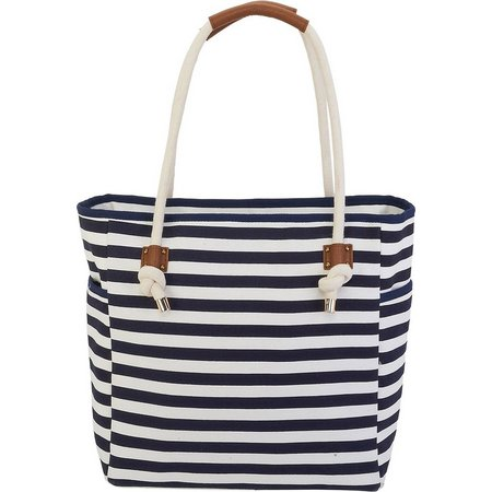 Caribbean Joe Navy Blue Striped Beach Bag Tote