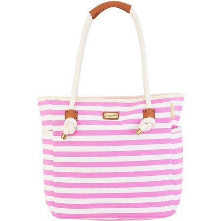 Caribbean Joe Pink & White Striped Beach Bag
