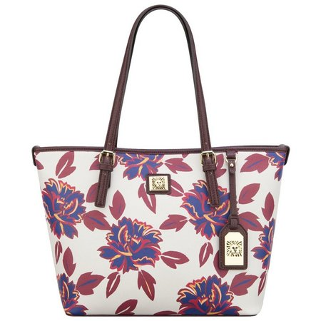 Anne Klein Perfect Ruby Red Floral Tote Handbag