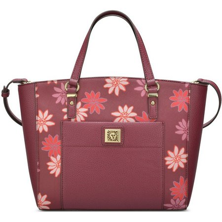 Anne Klein Merlot Floral Perfect Tote Handbag