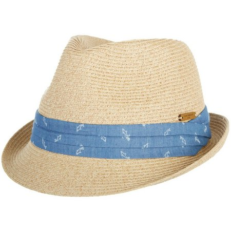 Caribbean Joe Womens Anchor Linen Fedora Hat