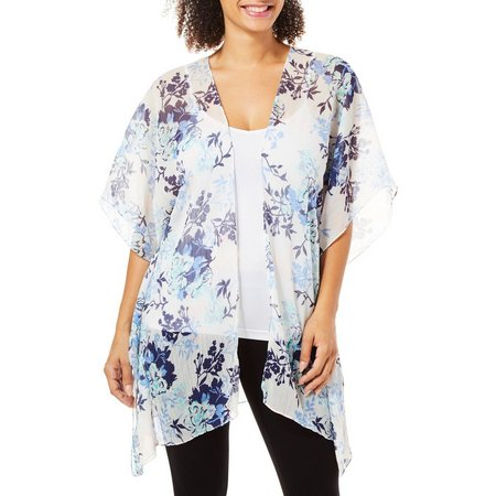 Cejon Accessories Womens Floral Print Sheer Kimono