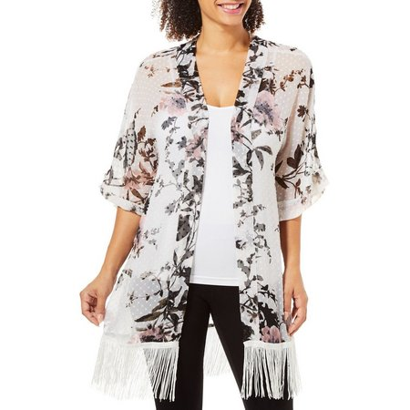 Cejon Accessories Womens Floral Print Fringe Sheer Kimono