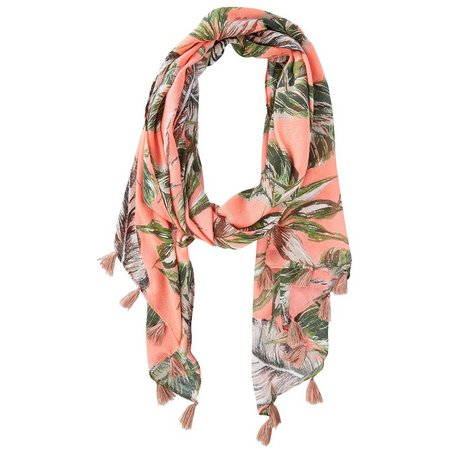 Betseyville Womens Palm Leaves Tassels Scarf