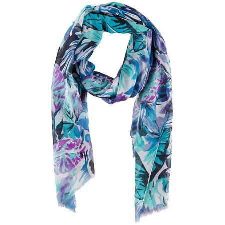 Betseyville Womens Blue Tropical Leaf Scarf