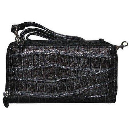 Buxton Glazed Croco Double Zip String Along Wallet