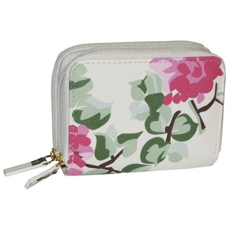 New! Buxton RFID Pink Floral Wizard Wallet