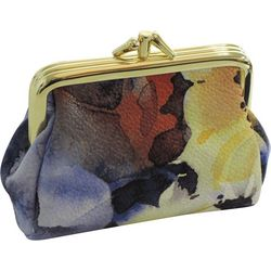 Buxton Painted Flowers Tri Frame Coin Purse