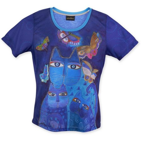Laurel Burch Womens Indigo Cats T-Shirt