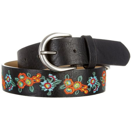 Madden Girl Womens Floral Embroidered Black Belt