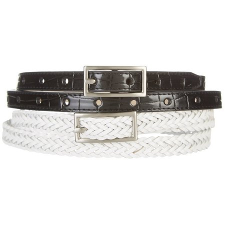 Bay Studio Womens Braid & Perforated Croco Belt