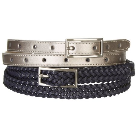 Bay Studio Womens Navy Blue & Silver Belt