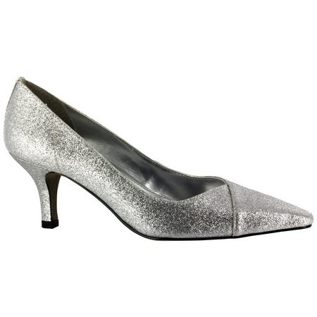 Easy Street Womens Chiffon Glitter Pumps