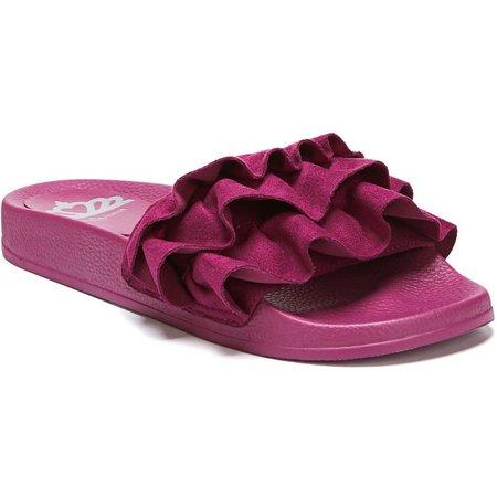 Fergalicious Womens Flutter Ruffle Slide Sandals