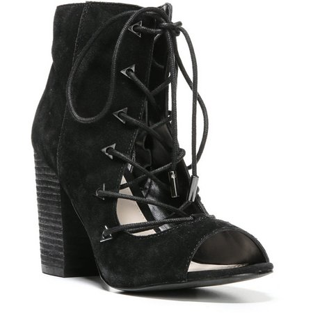 Fergie Womens Riveria Lace Up Peep Toe Booties