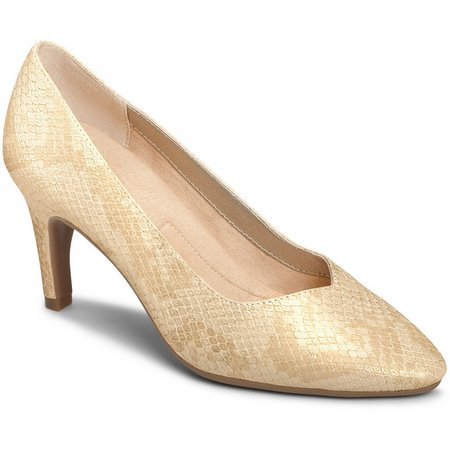 A2 by Aerosoles Womens Expert Gold Snake Pumps
