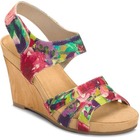 A2 by Aerosoles Womens Plush Day Floral Wedges