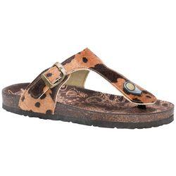 Muk Luks Womens Tina Animal Print Thong Sandals