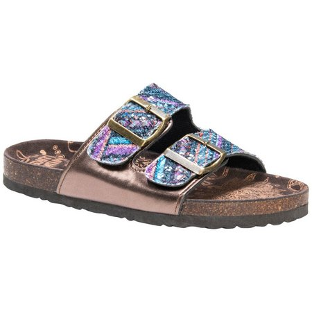 Muk Luks Womens Marla Buckle Sandals