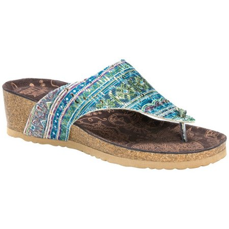 Muk Luks Womens Sue Ellen Wedge Sandals