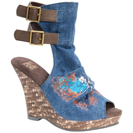 Muk Luks Womens Sage Denim Wedge Sandals