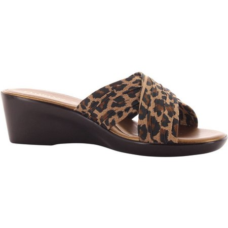 Italian Shoemakers Womens Leopard Strap Wedges