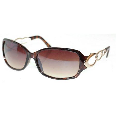 Bay Studio Womens Brown Chain Oversized Sunglasses