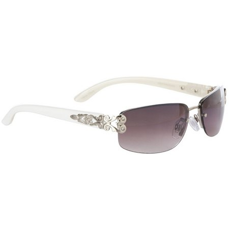 Bay Studio Womens White Rimless Sunglasses