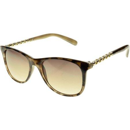 Bay Studio Womens Metal Accented Brown Sunglasses