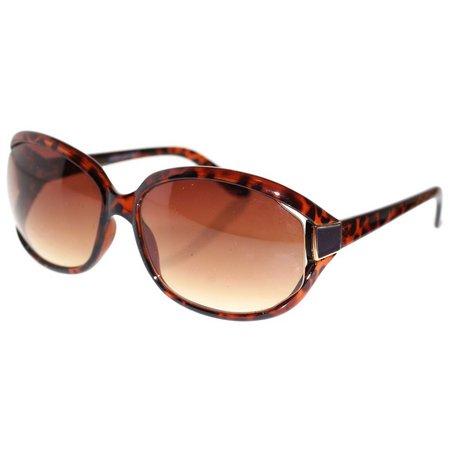 Dockers Womens Brown Plastic Rectangle Sunglasses