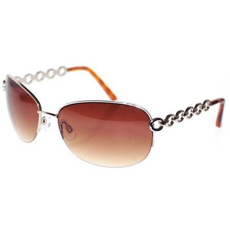 Dockers Womens Gold Semi Rimless Oval Sunglasses