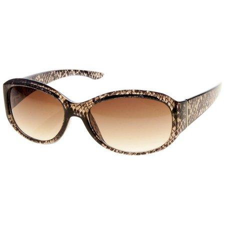 Dockers Womens Oval Snake Print Sunglasses