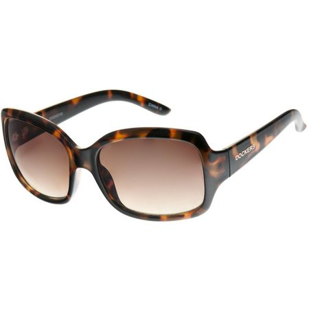 Dockers Womens Tortoise Brown Square Sunglasses
