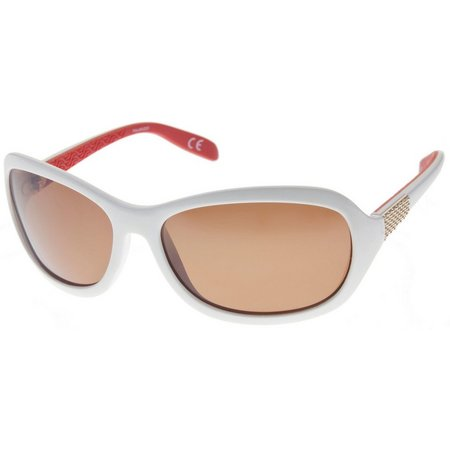 Reel Legends Womens Oval White/Coral Sunglasses