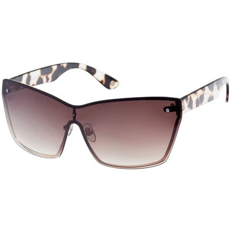 Nine West Womens Animal Print Shield Sunglasses