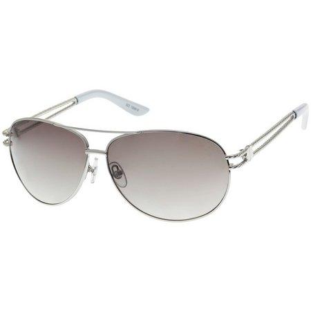 Bay Studio Womens Silver Tone Aviator Sunglasses