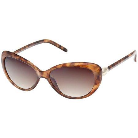 Bay Studio Womens Tortoise Brown Cat Eye Sunglasses