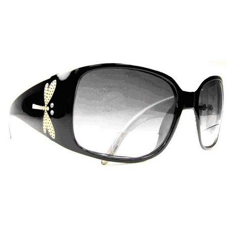 Infini Womens Black Dragonfly Sun Reading Glasses