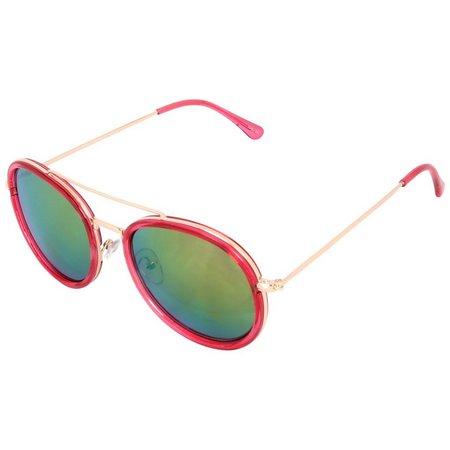 Madden Girl Womens Round Brow Bar Sunglasses