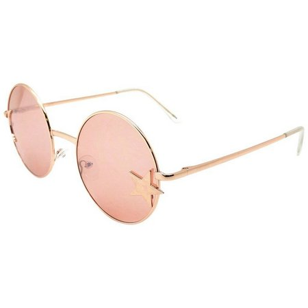 3d9c5cac2f ICON Womens Rose Gold Tone Star Round Sunglasses