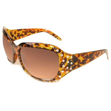 Bay Studio Womens Rhinestones Brown Sunglasses
