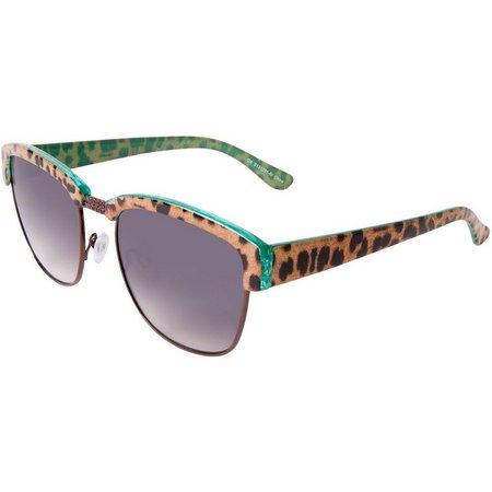 Bay Studio Womens Leopard Print Green Sunglasses