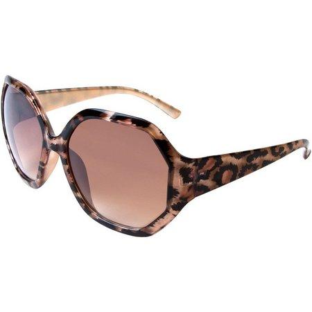 Bay Studio Womens Square Leopard Sunglasses
